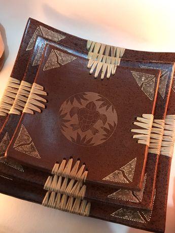 Керамическое БЛЮДО поднос тарелка из ТЕРРАКОТА глиняное ИНДИЯ