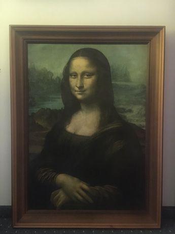 Mona Lisa reprodukcja drewniana rama