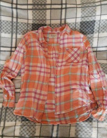 Рубашка Collin's в клетку рожева біла розмір xs-s-m