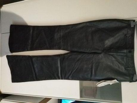 Spodnie ze skory niemieckie damskie rozszerzane nogawki oryginalne.