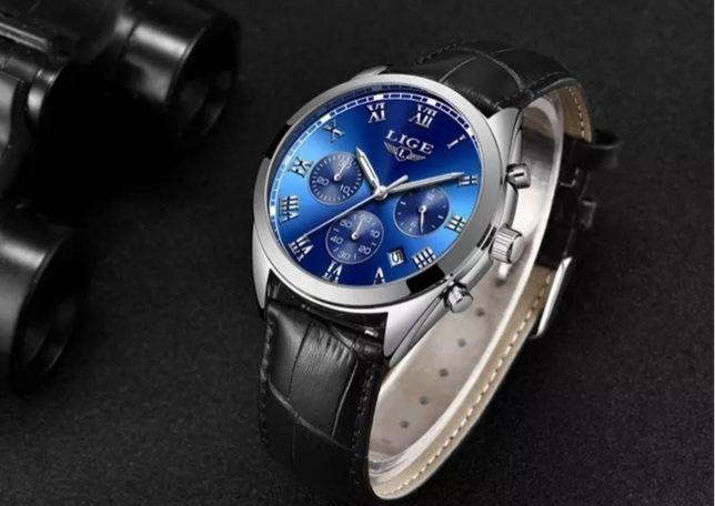 Luksusowy zegarek LIGE skórzany pasek wszystkie tarcze działają