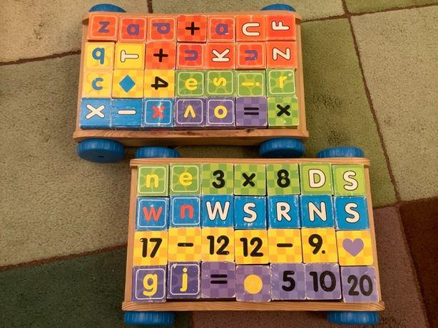 Drewniane klocki 56 szt. - nauka liter, alfabetu, cyfr, pisania