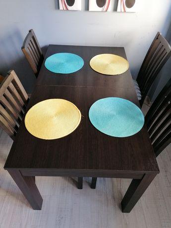 Komplet drewniany stół rozkładany krzesła jadalnia kuchnia wenge