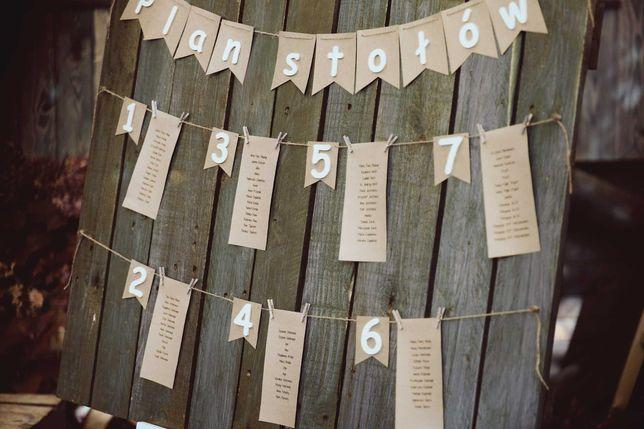 Plan stołów, tablica drewniana ślub rustykalny/boho