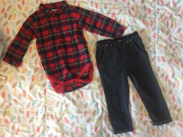 Костюмчик мальчику боди-рубашка клетка красная брюки 1-1,5г 80-86 одяг