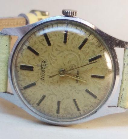 Zegarek Męski WOSTOK 18 JEWELS giloszowany żółta tarcza RZADKA