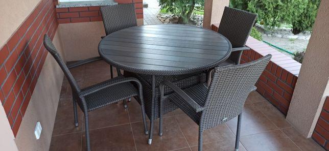 Zestaw mebli ogrodowych, stół,4 krzesła. Technorattan.