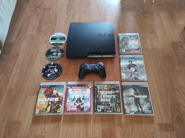 PS3 Slim c/9 jogos, comando e cabos