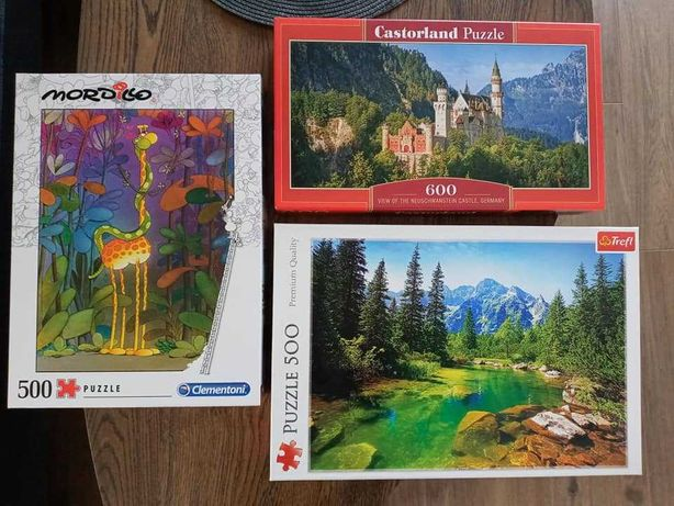Puzzle Trefl, Castorland, Clementoni, 2 x 500, 1 x 600