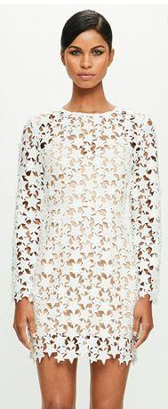 Sukienka Missguided Peace Love Star S 36 white biała bodycon lace NOWA