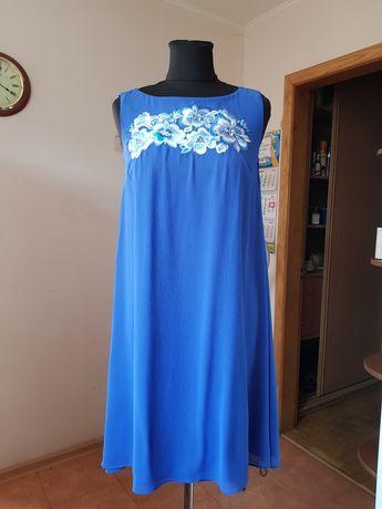 Платье с вышивкой шифоновое