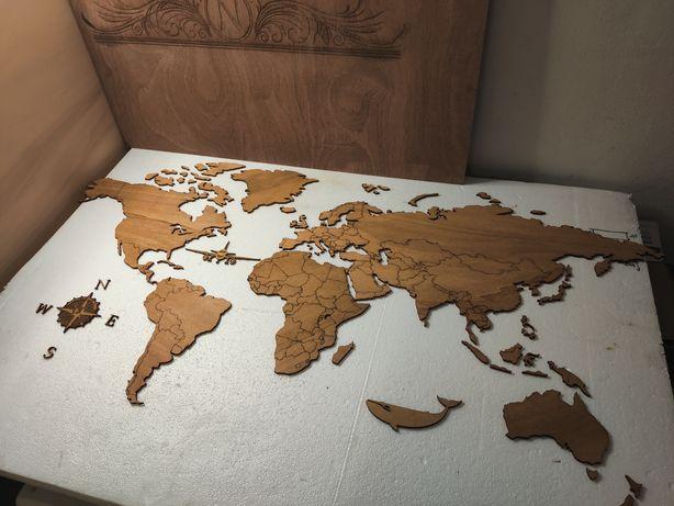 Mapa do mundo (em madeira). Decoração de parede. Somos fabricantes.