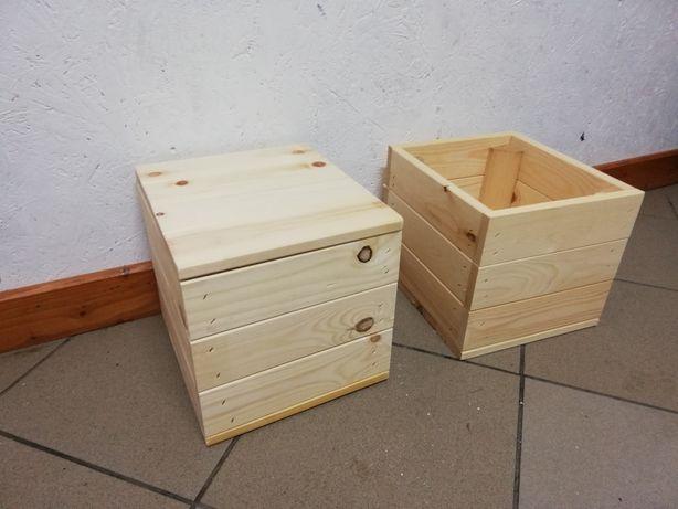 Drewniane skrzynki, doniczki, szkatułki