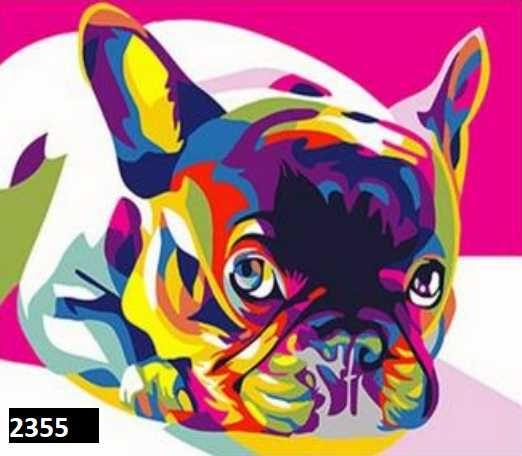 Tela para pintar com números à mão Animais bulldog francês pássaro cão