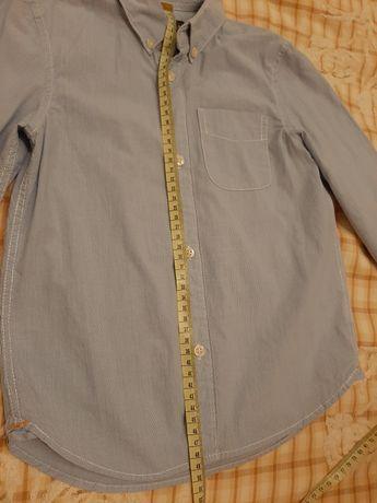 5-6лет. Рубашка для мальчика. H&M. Голубая,Хлопок. 116. Замеры на фото