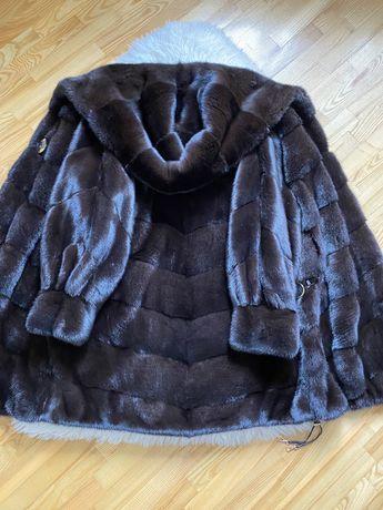 Норковая шуба Antonio Didone, с капюшоном 90 см, 48-54, шоколад