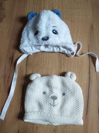 2x czapeczki zimowe dla niemowlaka stan idealny
