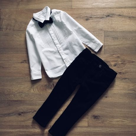 Нарядная рубашка с бантиком H&M, джинсы для мальчика H&M