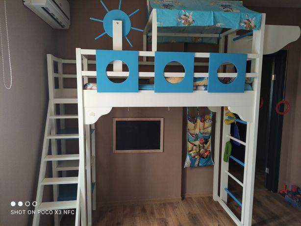 Кровать детская, кровать в морском стиле, шведская стенка, двухэтажная