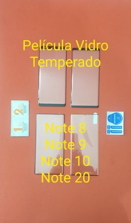 Película em vidro temperado Note 8 - Note 9 - Note 10 - Note 20