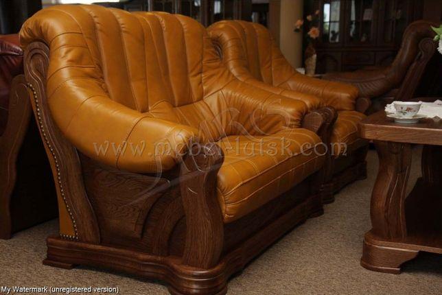 Новый кожаный диван и кресло Fryderyk II 3+1, кожаная мебель с Европы