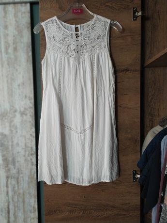 Biała sukienka XS, koronki
