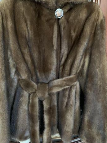 Шуба норка с поясом и капюшоном