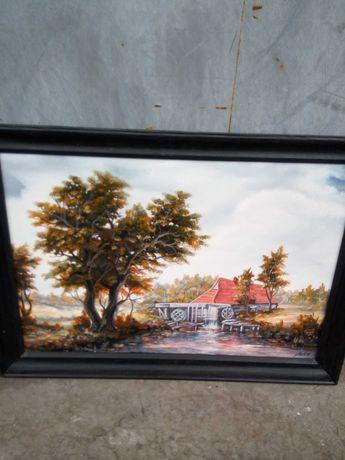 Obraz w ramie - młyn wodny malarstwo, sztuka, ozdoba na ścianę