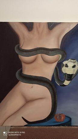 Tela pintura mulher nua com cobra
