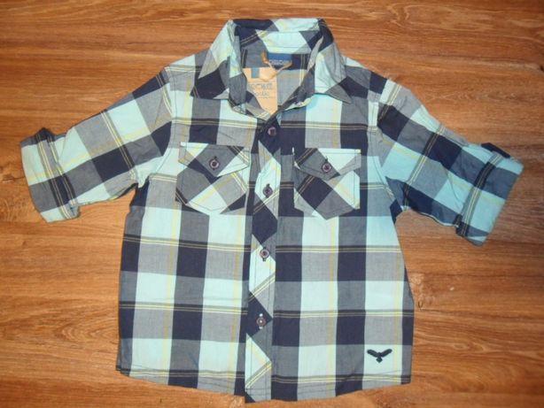 Cherokee Niebieska Koszula w Kratke Dla Chłopca rozm 92cm (18-24 mies)
