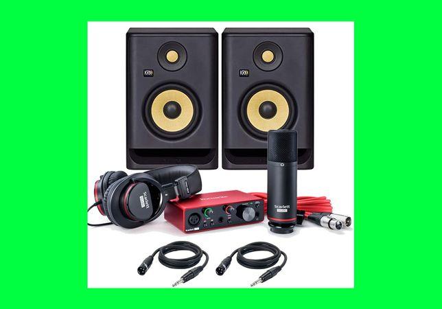 ZESTAW DO NAGRYWANIA Focusrite Solo + KRK RP5 + mikrofon + słuchawki