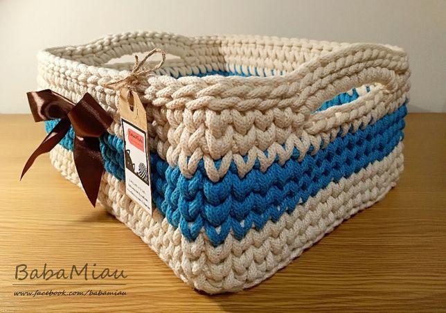 Koszyk prostokątny ze sznurka handmade