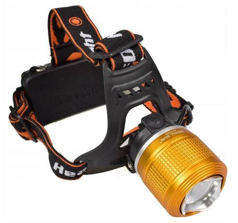 LAMPA LATARKA CZOŁOWA 2x dioda LED T6 / PE z zoomem ładowarka