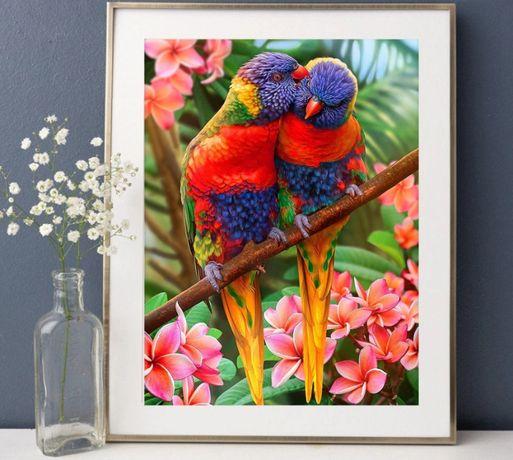 Diamond painting mozaika zestaw 20x30cm kolorowe papugi/ PREZENT