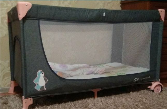 Кроватка-манеж KinderKraft Joy Pink