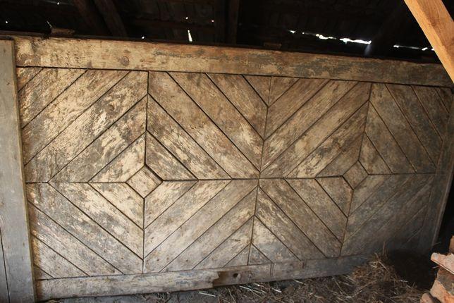 stare drzwi duże z deseczek wzór czworobok wys. 223 cm x 108,5 cm