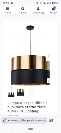 Lampa wisząca czarno złota Hilton