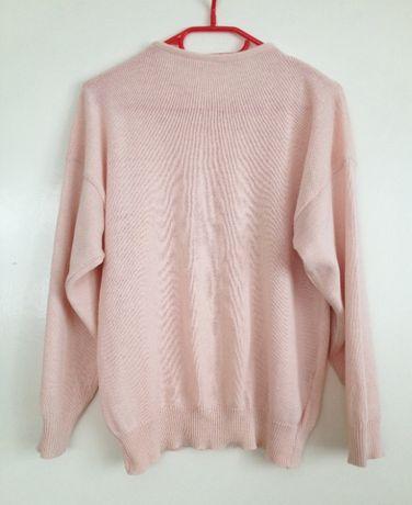 Oversize używany tani pudrowy róż sweter sweterek haft kwiat s m l 34