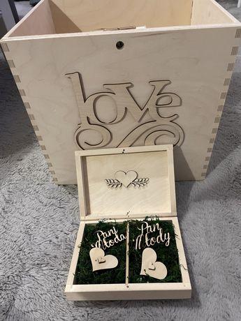 Pudełko na koperty + pudełko na obrączki