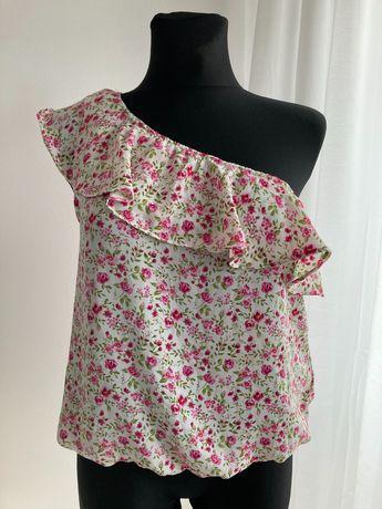 Piękna bluzka na jedno ramię M 38 w kwiaty na lato falbanka