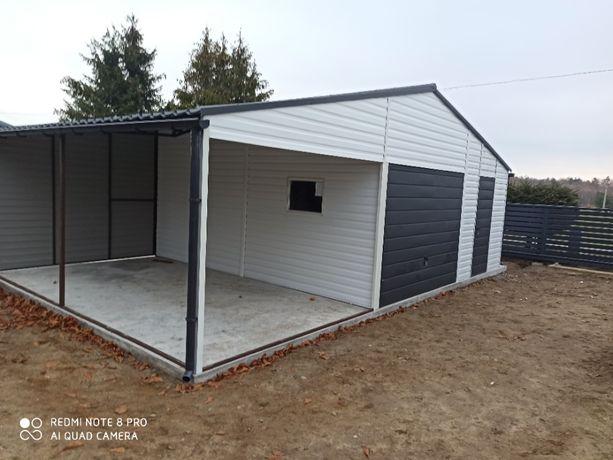 Garaż z wiatką Nowoczesny blaszak 5,5 x 5,5 + 3m