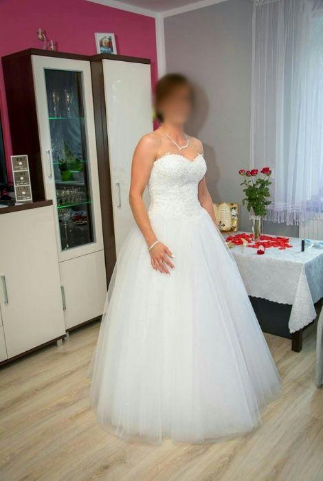 Sprzedam suknię ślubną z bolerkiem Łyse - image 1