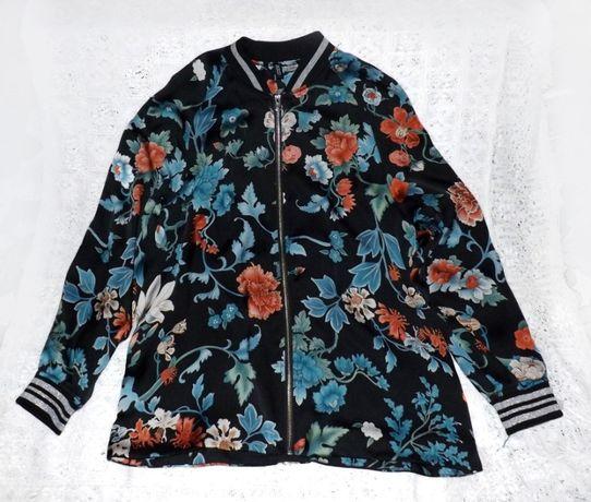 Бомбер женский H&M, блуза, ветровка, р38, цветы, люрекс.