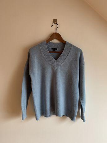Sweter V-neck Massimo Dutti M/38 niebieski błekit wełna alpaka