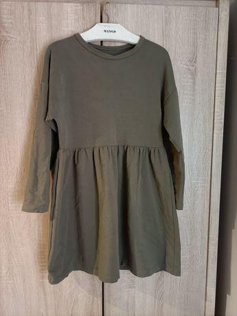 Sukienka khaki gruba bawełna