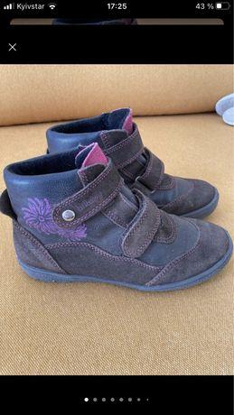 Кожаные утепленные ботинки