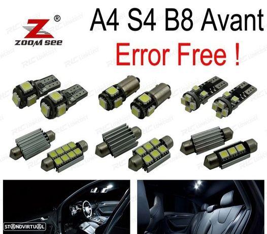 KIT COMPLETO DE 18 LÂMPADAS LED INTERIOR PARA 2009-2015 AUDI A4 S4 B8 AVANT