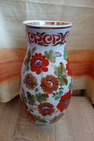 Агитационная  антикварная ваза СССР золочение, ручная роспись ЭКХЗ