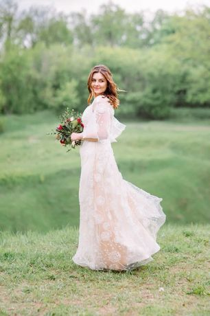 Свадебное платье ручная работа M-L