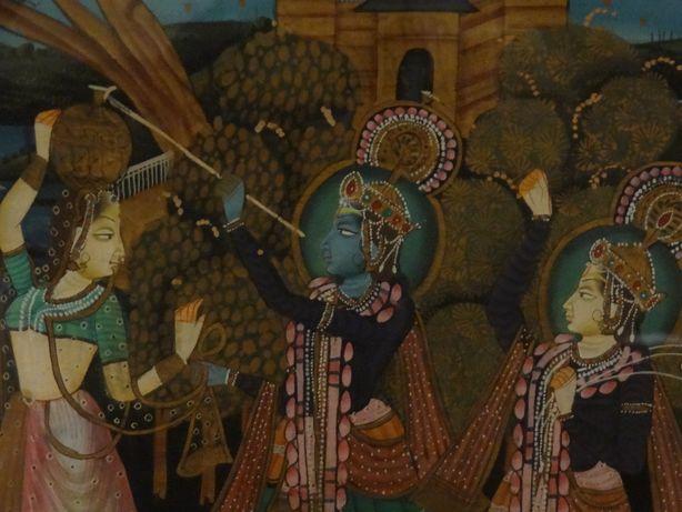 PINTURA INDIANA em pano de Seda ∟ Krishna & Consortes